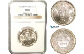 AB284, Switzerland, 2 Francs 1920-B, Bern, Silver, NGC MS67
