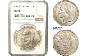 AB288, Venezuela, 5 Bolivares 1936, Philadelphia, Silver, NGC MS63
