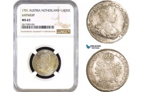 AB289, Austria Netherlands (Brabant) Maria Theresia, 1/4 Ducaton 1751, Antwerp, Silver, NGC MS63, Pop 1/0, Finest!