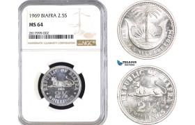 AB290, Biafra, 2 1/2 Shillings 1969, NGC MS64