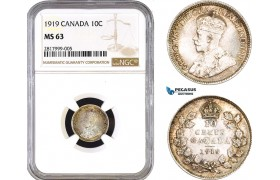 AB293, Canada, George V, 10 Cents 1919, Silver, NGC MS63