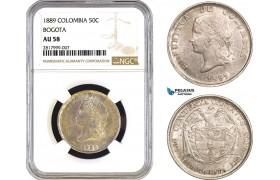 AB295, Colombia, 50 Centavos 1889, Bogota, Silver, NGC AU58, Pop 2/0, No Finer!