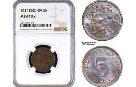 AB298, Estonia, 5 Senti 1931, NGC MS64BN