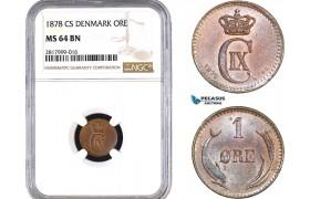 AB304, Denmark, Christian IX, 1 Øre 1878, Copenhagen, NGC MS64BN, Pop 2/1