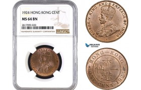 AB309, Hong Kong, George V, 1 Cent 1924, NGC MS64BN