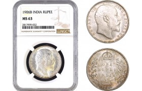 AB311, India, Edward VII, Rupee 1906-B, Bombay, Silver, NGC MS63