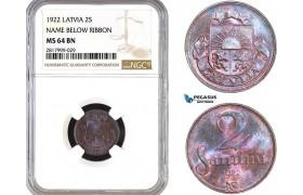 AB318, Latvia, 2 Santimi 1922, NGC MS64BN