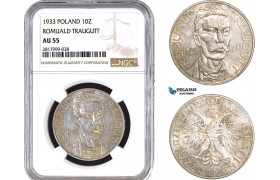 AB327, Poland, 10 Zlotych 1933 (Romuald Traugutt) Warsaw, Silver, NGC AU55