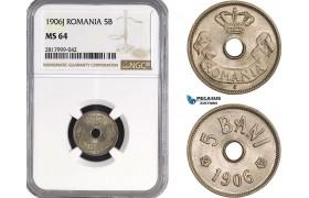 AB331, Romania, Carol I, 5 Bani 1906-J, Hamburg, NGC MS64