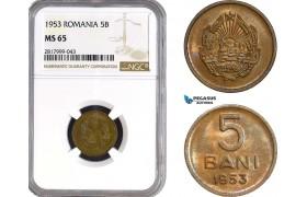 AB332, Romania, 5 Bani 1953, NGC MS65