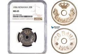 AB333, Romania, Carol I, 20 Bani 1906, Brussels, NGC MS65 (Proof)