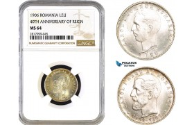 AB334, Romania, Carol I, 1 Leu 1906 (40th Anniversary of reign) Brussels, Silver, NGC MS64