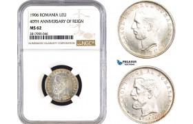 AB335, Romania, Carol I, 1 Leu 1906 (40th Anniversary of reign) Brussels, Silver, NGC MS62