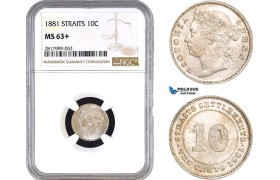 AB340, Straits Settlements, Victoria, 10 Cents 1881, Silver, NGC MS63+, Pop 1/2