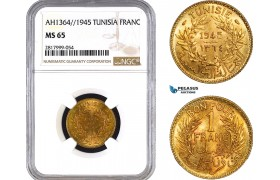 AB342, Tunisia, 1 Franc AH1364 / 1945, NGC MS65, Pop 1/0