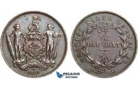 AB345, British North Borneo, 1 Cent 1887-H, Heaton, Brown Cleaned AU