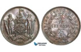 AB346, British North Borneo, 1 Cent 1888-H, Heaton, Brown UNC (Graffiti on Obv)