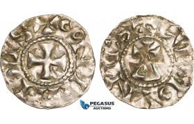 AB348, France, Carolingians, Conrad le Pacific (the Peaceful) (937-993) Denier, Lucdunus (Lyon), Silver (1.09g)