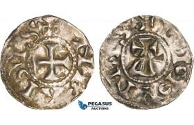 AB349, France, Carolingians, Conrad le Pacific (the Peaceful) (937-993) Denier, Lucdunus (Lyon), Silver (1.12g) Toned XF