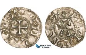 AB350, France, Carolingians, Conrad le Pacific (the Peaceful) (937-993) Denier, Lucdunus (Lyon), Silver (1.13g) Toned AU