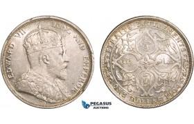 AB363, Straits Settlements, Edward VII, Dollar 1904-B, Bombay, Silver, UNC (Scratch behind ear)