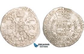 AB378, Belgium, Duchy of Artois, 1/4 Patagon 1635, Arras, Silver (6.82g) Del. 314 (R1) gVF, Rare!