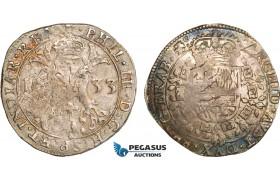 AB379, Belgium, Duchy of Brabant, 1/2 Patagon 1633, Antwerp, Silver (14.01g) Del. 303, Toned VF-XF