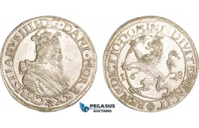 """AB389, Norway, Christian IV, Speciedaler 1628, Christiania, Silver (25.69g) NM 26 """"Wild Lion"""" Lustrous aXF, Extremely Rare!"""