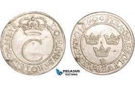 AB393, Sweden, Karl XI, 4 Öre 1669, Stockholm, Silver, SM 192b, Lustrous AU