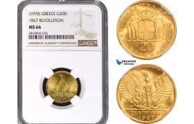 AB399, Greece, Constantine II, 20 Drachmai, No Date (1970) GOLD , NGC MS66
