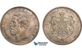 AB406, Romania, Carol I, 5 Lei 1880-B, Bucharest, Silver, Toned AU+ (Cleaned long ago)