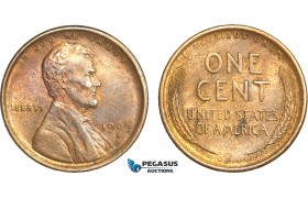 AB410-R, United States, Lincoln Cent 1909-S, San Francisco, Red Brown XF-AU