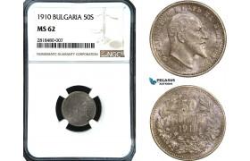 AB425, Bulgaria, Ferdinand, 50 Stotinki 1910, Silver, NGC MS62
