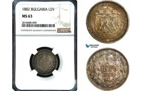 AB427, Bulgaria, Alexander, 1 Lev 1882, St. Petersburg, Silver, NGC MS63