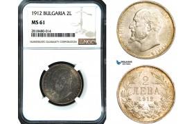 AB430, Bulgaria, Ferdinand, 2 Leva 1912, Silver, NGC MS61
