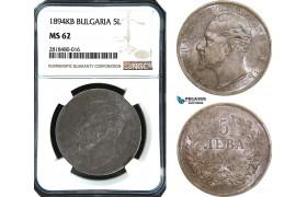 AB431, Bulgaria, Ferdinand, 5 Leva 1894-KB, Kremnitz, Silver, NGC MS62