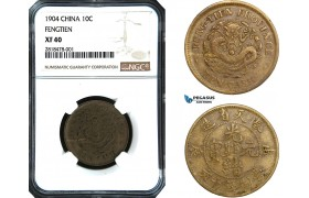 AB433, China, Fengtien, 10 Cash 1904, Brass, NGC XF40
