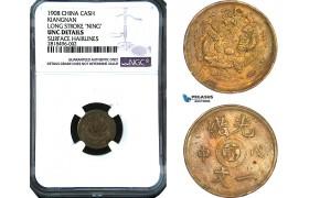 """AB437, China, Kiangnan, 1 Cash 1908, Long Stroke """"Ning"""" Y-7K, NGC UNC Det."""