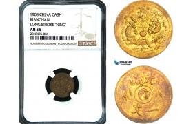 "AB439, China, Kiangnan, 1 Cash 1908, Long Stroke ""Ning"" Y-7K, NGC AU55"
