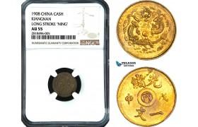 "AB440, China, Kiangnan, 1 Cash 1908, Long Stroke ""Ning"" Y-7K, NGC AU55"