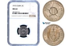 AB445, Cuba, 2 Centavos 1915, NGC MS64