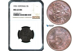 AB452, Estonia, 5 Senti 1931, NGC MS63BN