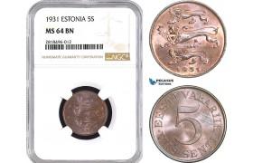 AB453, Estonia, 5 Senti 1931, NGC MS64BN