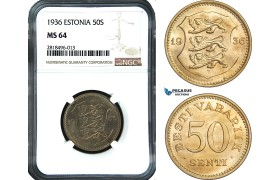 AB456, Estonia, 50 Senti 1936, NGC MS64