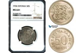 AB457, Estonia, 50 Senti 1936, NGC MS64+