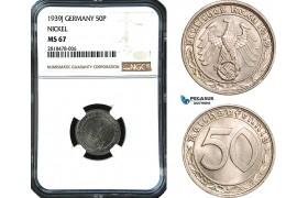 AB474, Germany, Third Reich, 50 Reichspfennig 1939-J, Hamburg, Nickel, NGC MS67, Pop 1/0