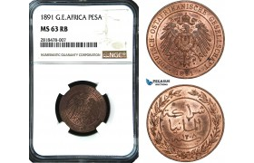 AB475, German East Africa (DOA) Pesa 1891, Berlin, NGC MS63RB