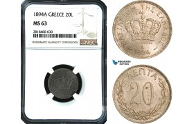 AB477, Greece, George I, 20 Lepta 1894-A, Paris, NGC MS63