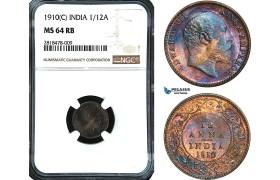 AB478, India, Edward VII, 1/12 Anna 1910 (C) Calcultta, NGC MS64RB