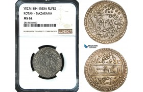 AB479, India, Kotah, Nazarana Rupee Yr. 27 (1884) Silver, NGC MS62